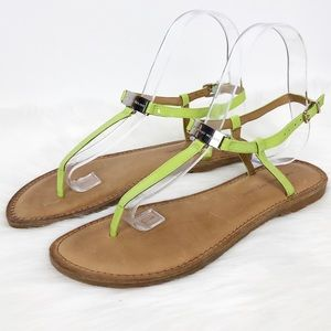 Antonio Melani Lime Leather Strappy Thong Sandals
